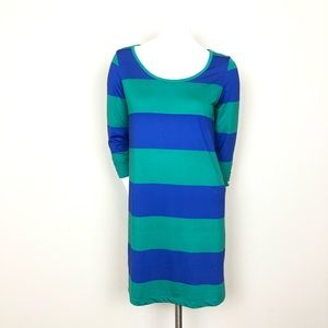 Mud Pie Green and Blue Striped Dress